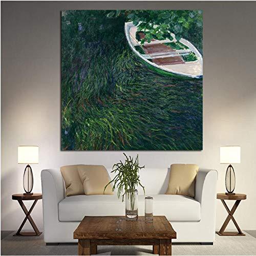 Rjunjie Druck Impression The Boat Landschaft Ölgemälde auf Leinwand Kunst Wandbild Leinwand Poster für Wohnzimmer 70x70cm ungerahmt - Impressionen Leinwand Kunst
