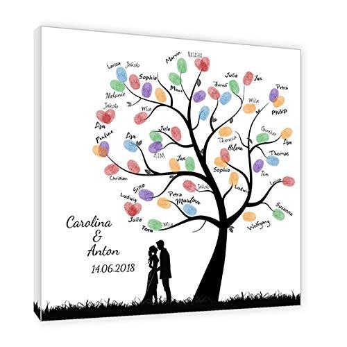 galleryy.net Fingerabdruck Baum Leinwand *50x50* mit Namen & Datum INKL Zubehör-Komplett-Set