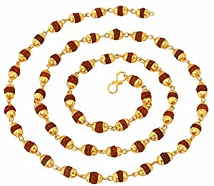 The jewelbox 22K Gold Plated Rudraksh Mala Chain 28 inches