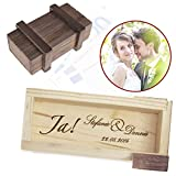 Magische Geschenkbox zur Hochzeit - personalisiert mit Namen und Gravur - Trickkiste für Geldgeschenke - Knobelspiel - Verpackung für Hochzeitsgeschenke - Motiv JA-Wort - 10,5 cm x 6,5 cm x 4 cm