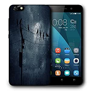 Snoogg Crows In The Rain Printed Protective Phone Back Case Cover For Huawei Honor 4X