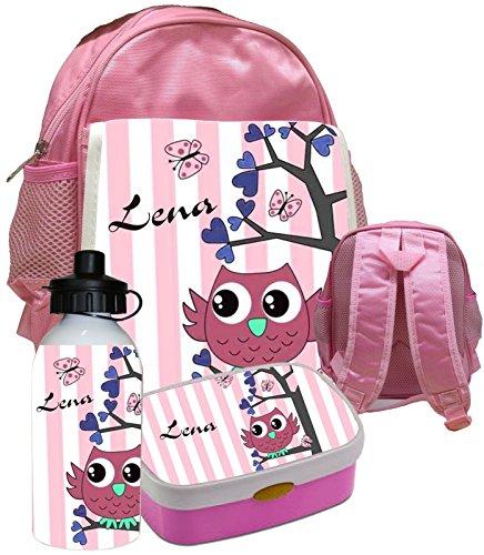 Preisvergleich Produktbild Kindergartenrucksack Bambini von Erzieherinnen empfohlen _ - mit eigenen Namen & Wunsch-Motiv / Rucksack Kinderrucksack Rosti Mepal Eule IIV & Trinkflasche