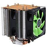 LAN Shuo Puro Tubo de Calor de Cobre 4 para 1366 1155 775 Disipador de Calor de la CPU Intel/AMD 3 Hilos Ventilador sin lampara Doble (Verde)