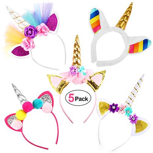 orn, 5 Stück Headband Stirnband mit Unicorn Horn Haarschmuck aus Plüsch Ohren für Ostern Halloween Weihnachten Birthday Party Karneval Head Accessoires ()
