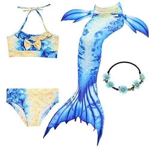 2XDEALS Meerjungfrau Schwanz mit Meerjungfrau Badeanzug Schwanzflosse Zum Schwimmen Kostüm Für Kinder Mädchen, 11-12 Jahre, Blau Gelb