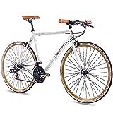 CHRISSON 28 Zoll Retro Rennrad Vintage Bike - Vintage Road 3.0 Weiss mit 21 Gang Shimano Tourney Schaltung, Urban Old School Fahrrad für Damen und Herren