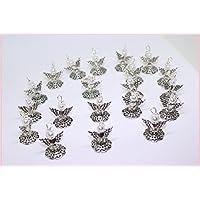 20 silberfarbene weiße Perlenengel mit Karabinerhaken, handmade, Schutzengel, Anhänger