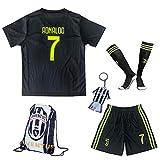 2018/2019 Juventus #7 Cristiano Ronaldo Third Kinder Fußball Trikot Hose und Socken (SCHWARZ, 22 (5-6 Jahre))