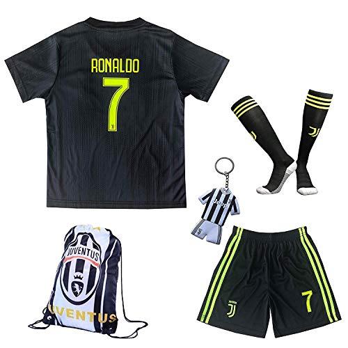 2018/2019 Juventus #7 Cristiano Ronaldo Third Kinder Fußball Trikot Hose und Socken (SCHWARZ, 24 (7-8 Jahre)) -