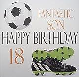 WHITE COTTON CARDS xna18s groß Fußball, Fantastische Sohn Happy Birthday...