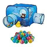 Relaxdays 101 TLG. Bällebad Set, Spielzelt Tunnel für Kinder, 100 Bälle, Hai-Motiv, Pop Up Kinderzelt, HBT 80 x 140 x 140 cm, blau