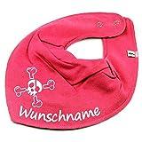 HALSTUCH Totenkopf Pirat mit Namen oder Text personalisiert pink für Baby oder Kind