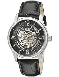 Stuhrling Original Delphi - Reloj automático, para hombre, con correa de cuero, color negro