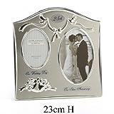 Boda Campanas bañado en plata marco de fotos, 25th plateado aniversario de boda regalo