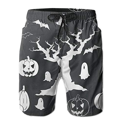 een Spooky Tree Ghost Kürbis Schnelltrocknend Badehose Boader Shorts Strandbadeanzug Sport, Größe M ()