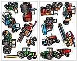 Samunshi® 13 Pièces tracteur et véhicule tracteur de machines agricoles camion sticker mural moissonneuses-batteuses, multicolore, 2x 21x34cm...