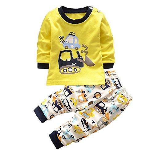 Kinderbekleidung,Honestyi Kinder Langarm Cartoon Bagger zweiteilige Anzug Tops+ Hosen 2pcs set Streetwear Niedlich Sweatshirts Pullover Mäntel (Gelb, 12M /80CM)
