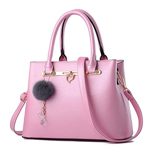 Sac à main en cuir Pu de mode épaule Sac fourre-tout sac cartable Blanc femme Rosé Clair Sac à Main