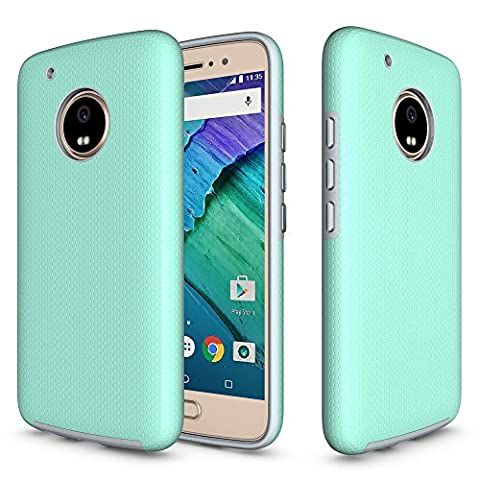 Moto G5 Plus Armor Case, AILRINNI [Textured Grip] TPU Gel / Hard Back Fusion Cover, Anti-Slip / Ultimate Dropproof / Rugged Armor Protective Bumper Shell for Lenovo Moto G5 Plus Case (2017) (5.2 inch), Mint Green