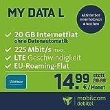 mobilcom-debitel my Data L im Telefonica-Netz (14,99 EUR monatlich, 24 Monate Laufzeit, 20 GB Internet-Flat, LTE mit max. 225 MBit/s, EU-Roaming-Flat, Triple-Sim-Karten)