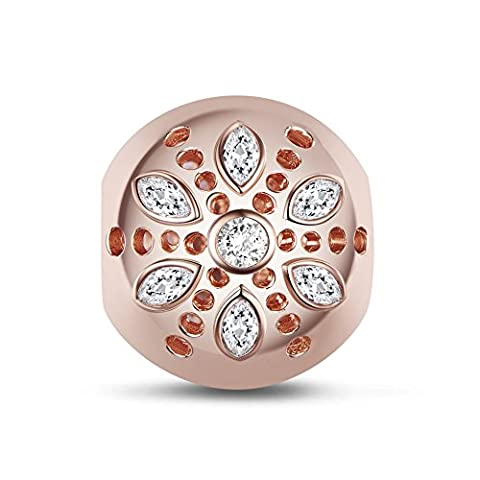 TINYSAND 925 Sterling Silver Rose Gold Charm Beads with Six