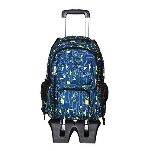 Hzjundasi borsa da scuola con ruote zaino per studenti - con heightened sei ruote salire le scale - trolley borsa a tracolla per ragazzi ragazze kids bambini (nero+giallo)