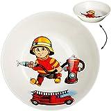 alles-meine GmbH großer Suppenteller / Müslischale / hoher Teller -  Feuerwehr - Feuerwehrmann & Feuerwehrauto  - Ø 18,5 cm / 500 ml - aus Porzellan / Keramik - tiefer Frühs..