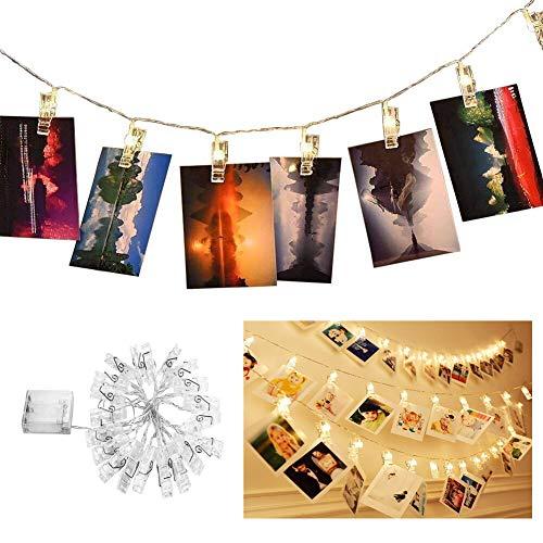 Lichterkette,20 Photo Clips 2,2 Meter/7,21 Füße Stimmungslichter mit Acht Mode Schalter für Party, Weihnachten, Dekoration,Hochzeit (Warmweiß) batteriebetrieben LED Lichterketten ()