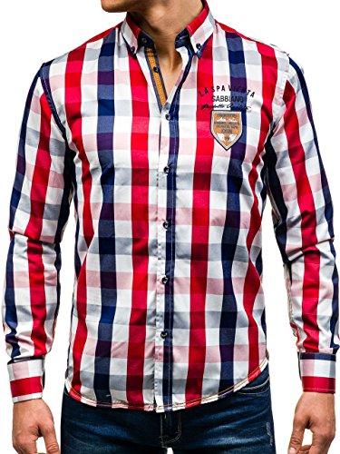 ce7c7f4c7555 BOLF Herren Freizeithemd Herrenhemd Klassisch Kariert Hemd Slim Fit 2B2  Motiv Dunkelblau ...