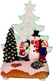 Star - Decorazione Natalizia a LED, Motivo Babbo Natale con Bambini, LED Verde, Misure approssimative 14 x 8 c