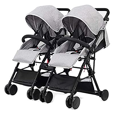 zxmpfg Cochecito doble desmontable, amortiguador flexible de viaje plegable de lado a lado, adecuado para su uso desde el nacimiento, cinturón de seguridad de cinco puntos y asiento reclinable