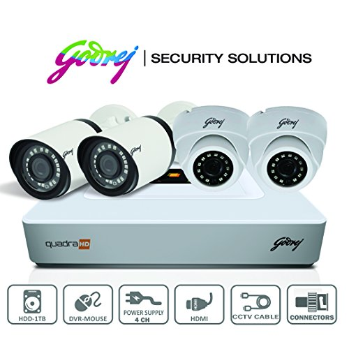 Godrej High Defination 1080P Full CCTV Camera KIT with 2 MP 2Dome camera + 2MP 2bullet camera + 4 Ch DVR + Power supply + 1 TB Hard disk(WD/Seagate) + BNC & DC Connectors + HDMI Cable + Ethernet Cable + 90 meter cable + Adapter  available at amazon for Rs.16999