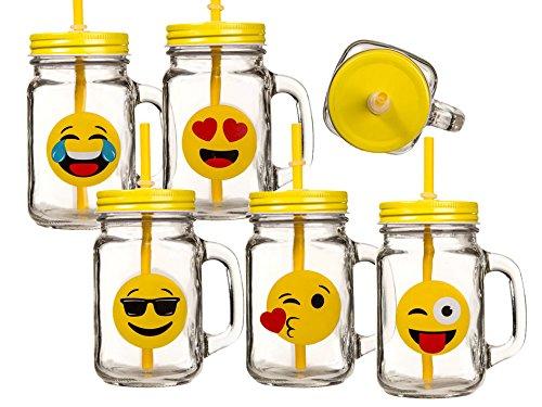 Bada Bing 6er Set Trinkglas Emoji lustige gelbe Gesichter Deckel Strohhalm witzig 44