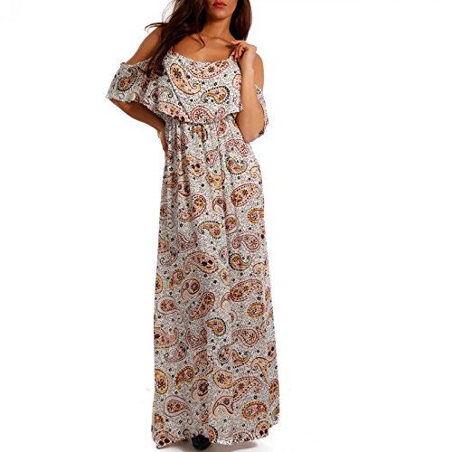 Damen Maxikleid Bodenlang Strandkleid Carmen-Ausschnitt mit Volant Mehrfarbig/Model1