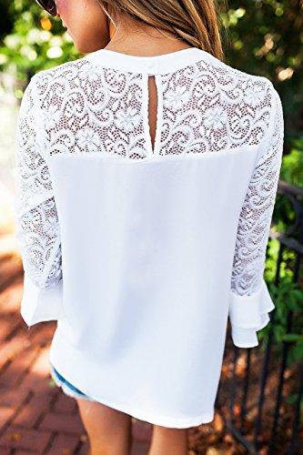 Donna Casuale Maniche Lunghe Crochet del merletto Camicetta T-Shirts Stitching O-Collo Solid Autunno Felpa Tops Bianco