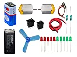 #2: 9v battery, DC toy motor, fan blade ,Led etc .Science kit for school projects