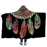 Dotbuy Decke Mit Kapuze Mandala Schädel, Erwachsene Kinder 150x200cm/130x150cm kapuzendecke Niedlich Sofa Decke (Groß (150 x 200cm), Indische Feder)