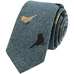 JUNGEN Corbata de Informal para Hombres Corbata de Estampada de pajarito Corbata Estrecha Corbata de algodón y Lino Size 148 * 6cm (Verde)
