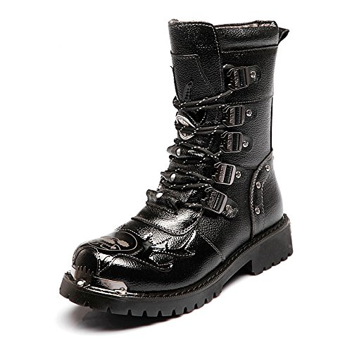Best Choise Herrenschuhe Lace Up Block Leder Low Heel Mid Calf Kampfstiefel für Herren Draussen ( Color : Black , Size : 41 EU ) (Leder-einlegesohlen Mid-heel)