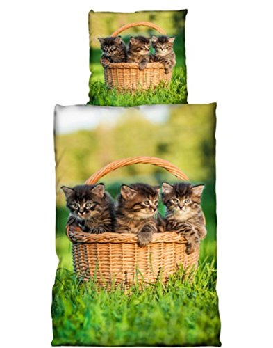 Katzen Bettwäsche 2tlg. Katzenbabys 135x200 cm (80x80 cm)