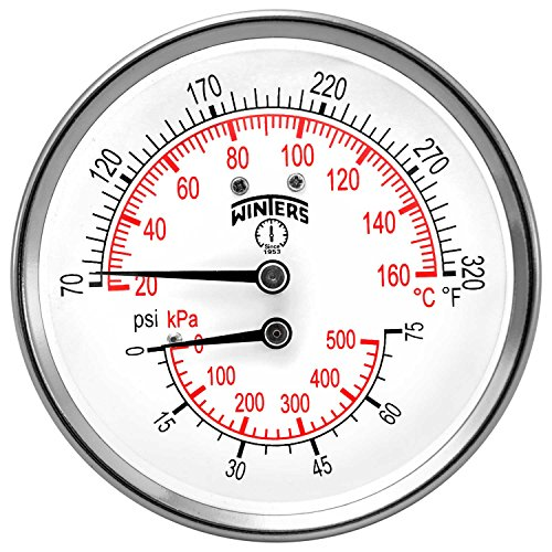 Winters TTD Series Steel Dual Scale Tridicator Thermometer with 2 Stem, 0-75psi/kpa, 3 Dial Display, 3-2-3% Accuracy, 1/2 NPT Back Mount, 70-320 Deg F/C by Winters