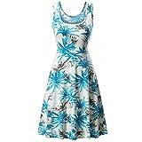VEMOW Sommer Elegante Damen Frauen Sleeveless Rundhalsausschnitt Druck Sommer Strand Midi Eine Linie Casual Dress Floral Casual Täglichen Party Tank Kleid(Blau, EU-38/CN-S)