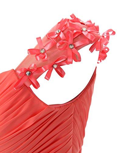 Dressystar Robe de demoiselle d'honneur courte plissée à bretelles couvertes de Nœuds Papillons Rose