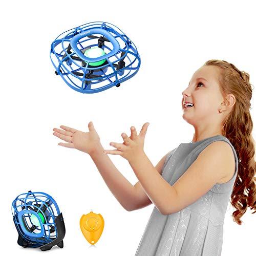 Tomzon Mini Drohne für Kinder, Handbetriebener Quadrocopter mit Fernbedienung, Levitation UFO, Einfach zu kontrollieren, Fliegender UFO-Ball, Mini-USB-Handventilator, Spielzeug, A15 Blau
