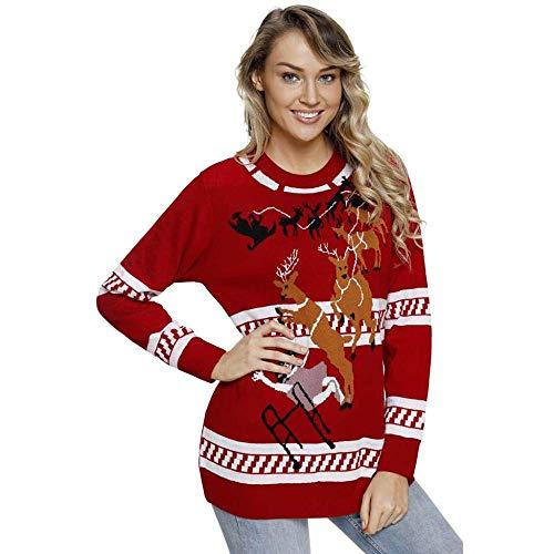 KAIDILA Rentier springen über hässliche Weihnachts rot Pullover Herbst und Winter Runde Hals Lange Ärmel Weihnachten Rentier Set Kopf Bas E Pullover Damen-Pullover