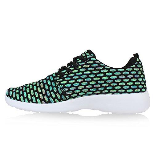 Damen Herren Sneaker Sportschuhe schwarz Turnschuhe Runners mit Blumen Print in mehreren Farben Grün Schwarz Muster