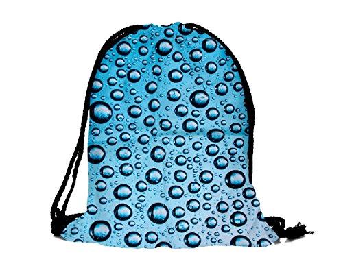 Sacca sportiva a tracolla per l'allenamento, ma non solo. Ultra leggero lifestyle viaggio borsa borsetta palestra zaino a spalla trend sport per uomini donne ragazzi ragazze bambini, RU-133 goccia d'acqua