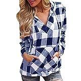 Mode Frauen Pullover T-Shirt Plaid Hoodie Langarm Bluse Top Frauen Frühling MYMYG Herbst Einfach und Stilvoll mit Tasche Kapuzenpullover (Blau,EU:34/CN-S)