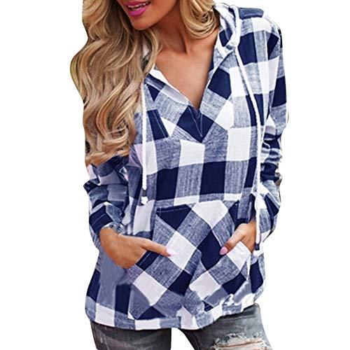 Bluelucon Damen Bluse Kariertes V-Ausschnitt Langarm Oberteile Oversize Sweatshirt Lose Hemd Pullover Langarmshirt ()