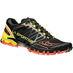 La Sportiva Bushido Calzado Running, Hombre, Negro / Amarillo, 43.5